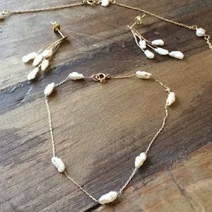 Pearl Jewelry - 14k gold & culture pearl necklace and bracelet set